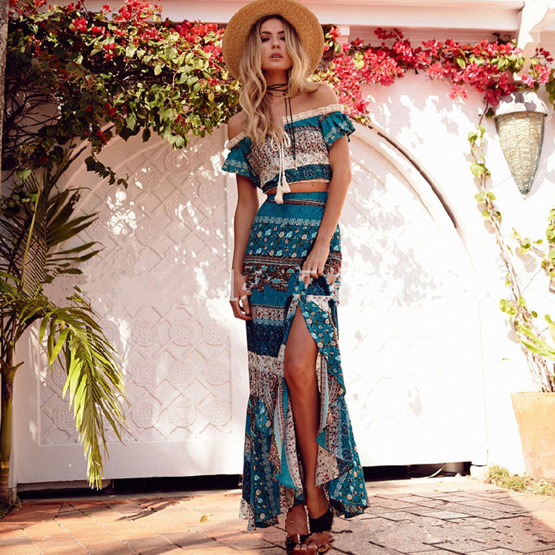 Buy Cheap 2017 Bohemia Boat Neck Short Sleeve Split Hem Sexy Off Shoulder High Waist Tropical Floral Print Vestidos Female Dress Set 2Pcs