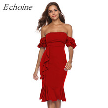 Echoine Ruffle Decor Puff Sleeve Sexy Mermaid Dress Strapless Bodycon Midi Evening Party Dresses Solid Plus Size Formal Outfits