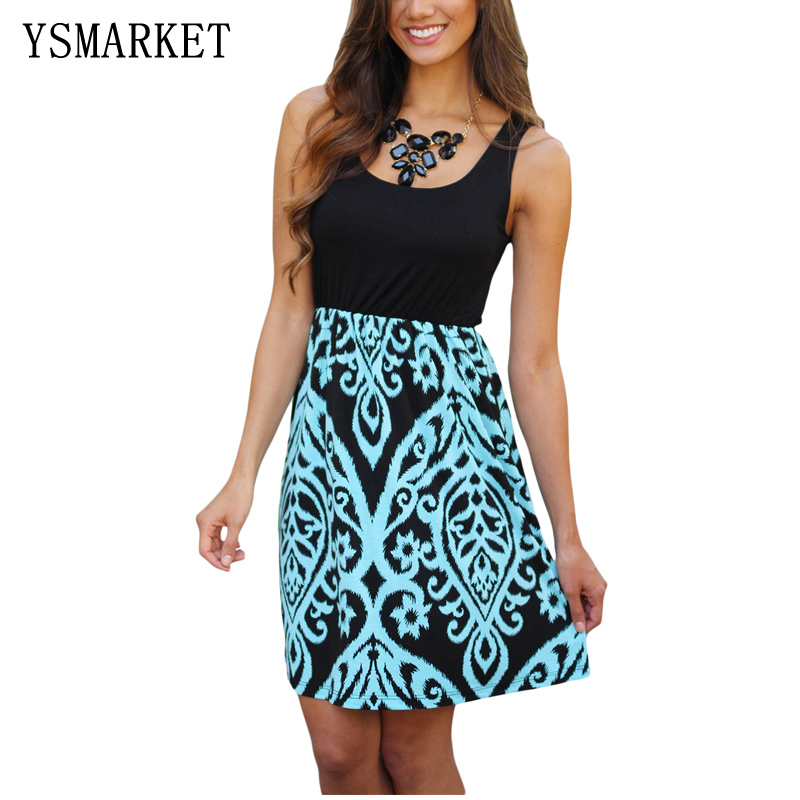 2017 Summer Dress Women Black and Taupe Printed Short Dress Sexy Sleeveless Vestidos Print Mini Dress Club Casual Dress E220062