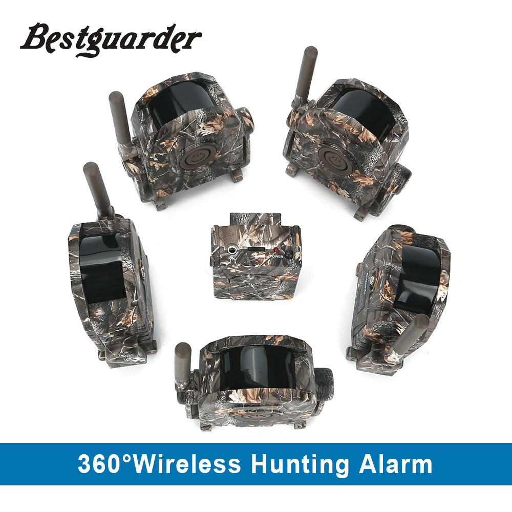 360 degree 100 Meter Wireless Trail Security Hunting alarm system 0.5S Trigger Sound Vibration LED Motion system kit PIR motion bestguarder sy 007 360 degree wireless hunting trail