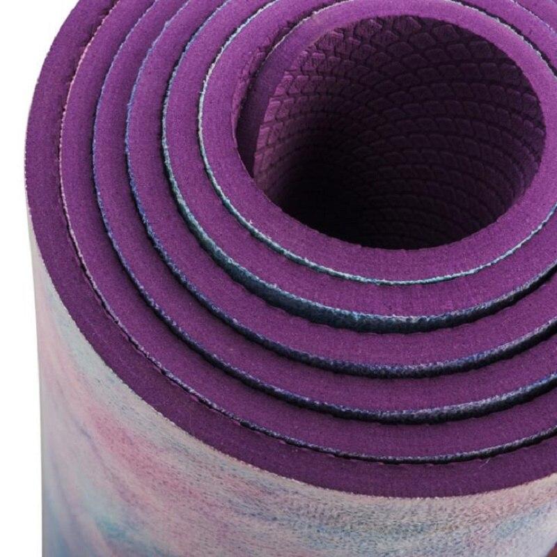 Tapis de Yoga sport Gym 5mm daim Tie-colorant antidérapant Fitness perte de poids Pilates mince tapis de Yoga aérobie Camping exercice tapis de Massage - 4