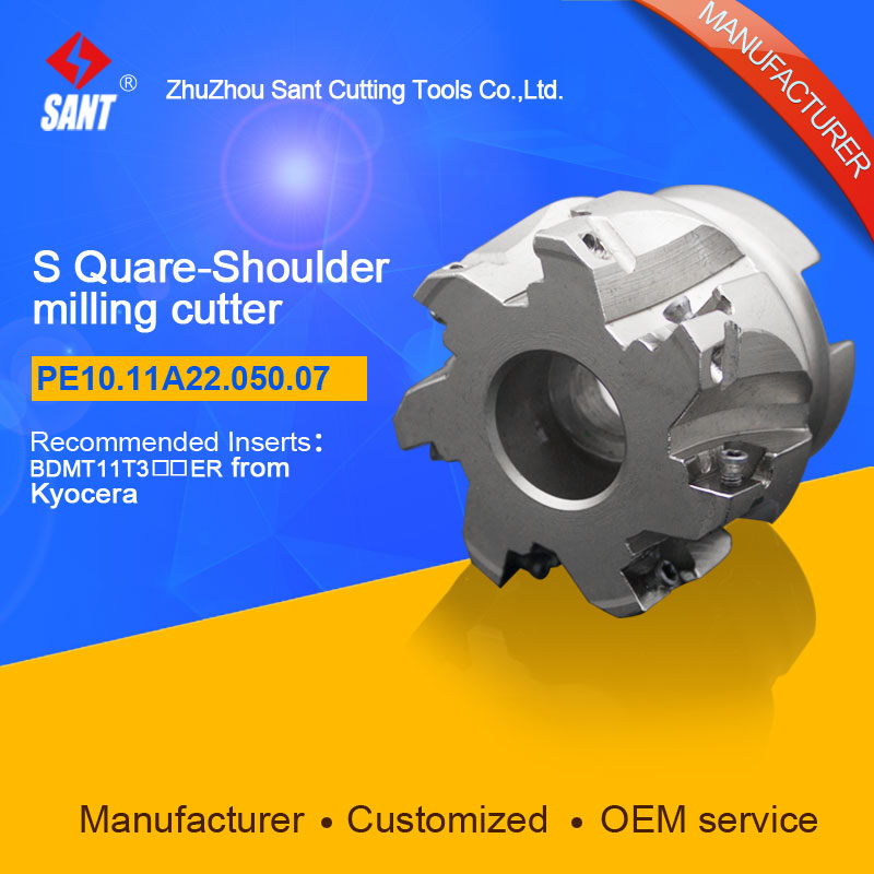 Indexable Milling cutter SANT PE10.11A22.050.07 with BDMT11T3 carbide insert for Kyocera  цены
