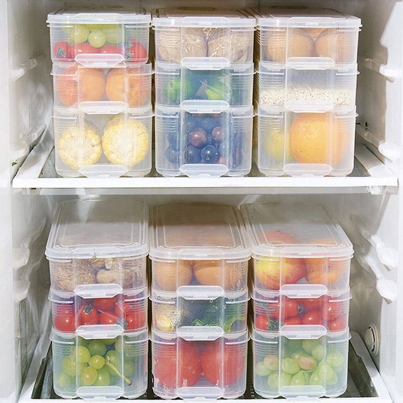 1pc Plastic Storage Bins Refrigerator Food Containers with ...
