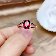 shilovem 925 sterling silver Natural garnet Rings fine Jewelry open gift new classic women  wedding mj060800ags