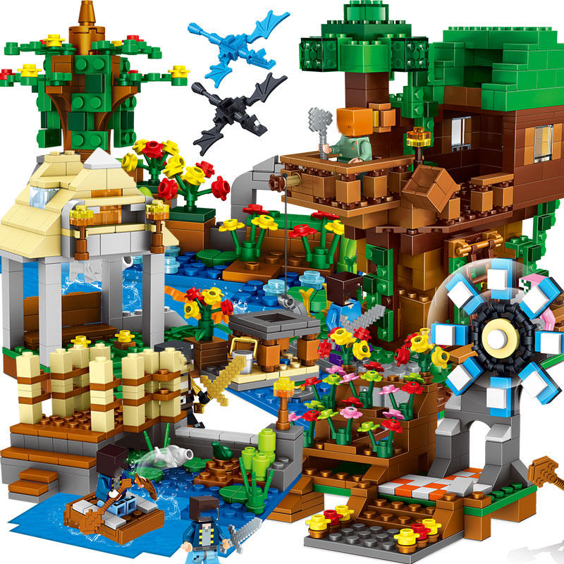 My World Minecraft Building Blocks Bricks Assembling Kids Toys Legoings Cave Tree House Educational Children Christmas Gift Toys