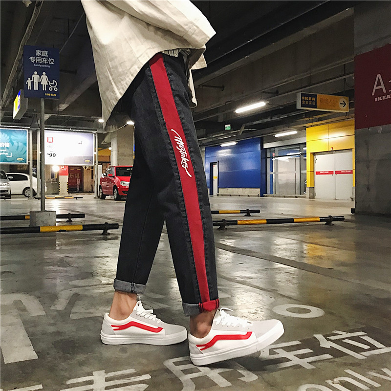 2018 Spring Summer Mens Fashion Casual Slim Stripe Cowboy Pants Tide Black Color Bound Feet Wash Jeans Trousers Male S-2XL