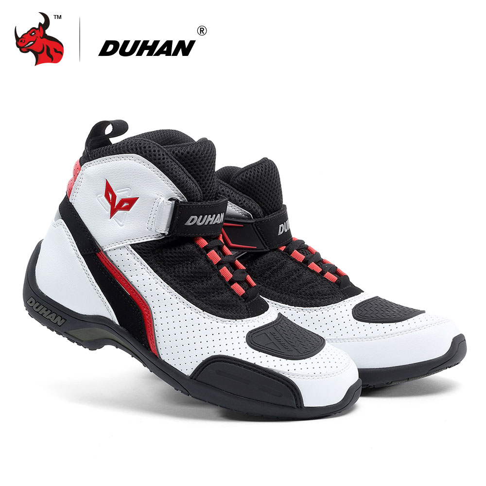 DUHAN Motorcycle Boots Summer Mesh Men Motorcycle Shoes Motocross Off-Road Racing Boots Moto Boots Black White