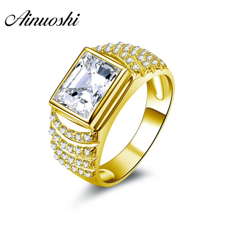 AINUOSHI Luxury 10K Solid Yellow Gold Men Ring 6.4g Wedding Band 4CT Rectangle Cut Layers Drills Band For Male Wedding JewelryAINUOSHI Luxury 10K Solid Yellow Gold Men Ring 6.4g Wedding Band 4CT Rectangle Cut Layers Drills Band For Male Wedding Jewelry