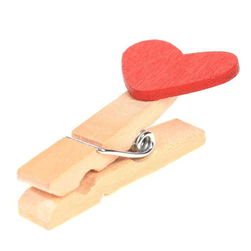 20 יח'\סט ווג עץ אדום אהבת לב יתדות תמונה נייר קליפים חתונת דקור קרפט עץ קליפ נייר אחסון אספקת בית הספר קליפים