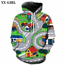 YX GIRL Drop shipping 2018 New Fashion Mens 3d hoodies Toy Roads Printed Hoodie Men/Women Casual Hoody Sweatshirts TZ-52