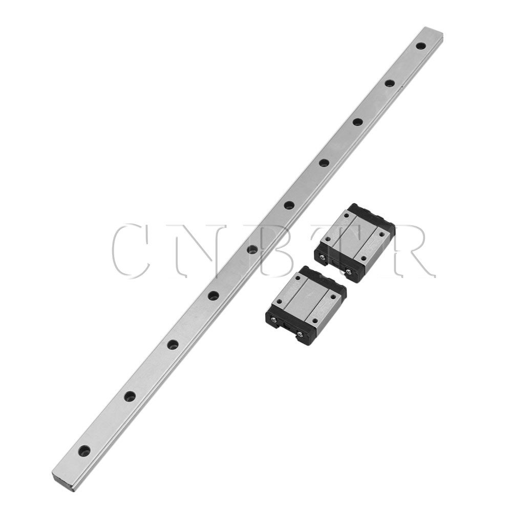 CNBTR 400mm Length Bearing Steel Linear Sliding Guide Slide Rails & 2PCS MGN15 Linear Extension Block for CNC 3D Printer section three track rail drawer slide rails 3 row ball bearing linear guides thicker