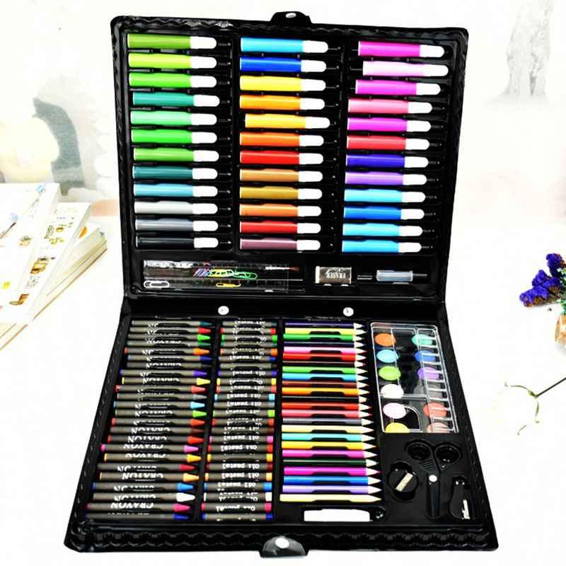 Роскошный Художественный набор, 150 шт Детские краски для рисования Инструменты для рисования набор фломастеры карандаш масло Пастель кисть для рисования ручка