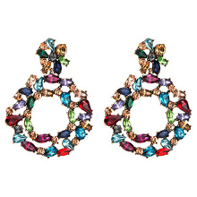 2019 Multicolor Resin Rhinestone Round Pendant Dangle Earrings For Women Jewelry Fashion Statement Accessories Hot Sale