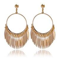 Hot Newest Arrival Bohemia Big Tassels Drop Dangle Golden Plated Hoop Earrings For Women Jewelry Free