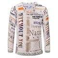2016 New Arrivals moda manga Comprida v neck Camisetas Dos Homens do vintage 3D letra Impressa Camisetas masculino Lazer Roupas de Marca