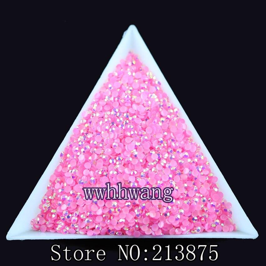 10000 unids / bolsa, SS6 Rosa oscuro Color mágico AB gelatina 2mm - Artes, artesanía y costura