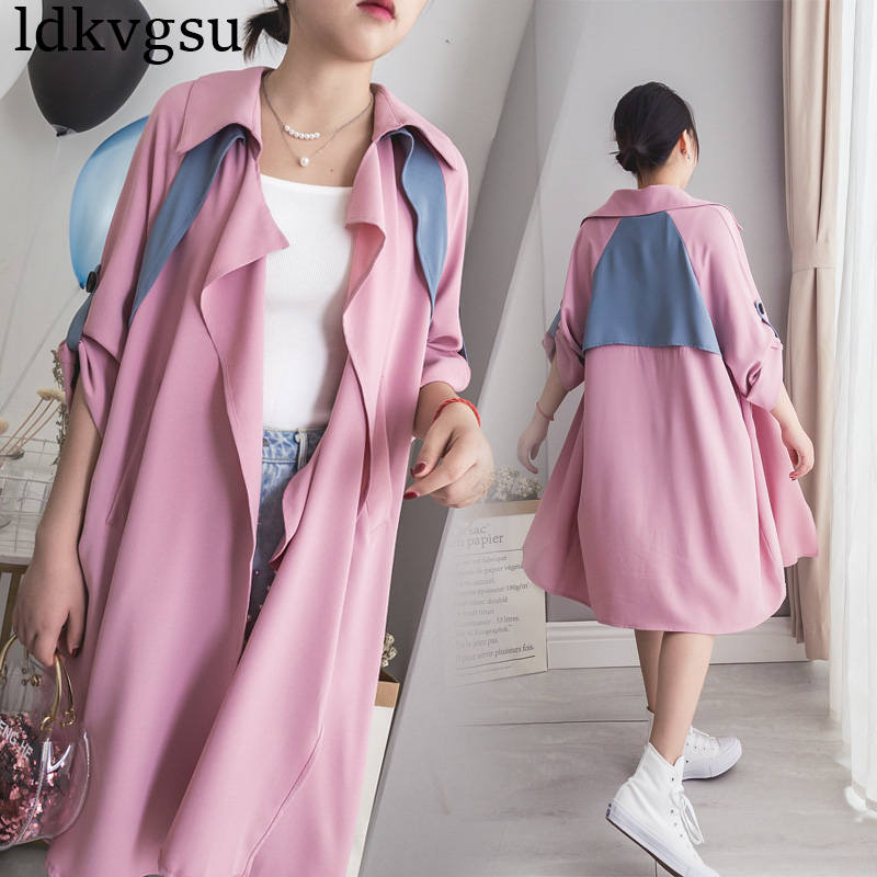 fashion Large Size Women's Long   Trench   Coats 2019 New Spring Autumn Coats thin pink Windbreaker Outerwear V439