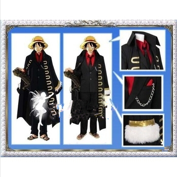One Piece Strong World Monkey D. Luffy Cosplay Costume black cloak
