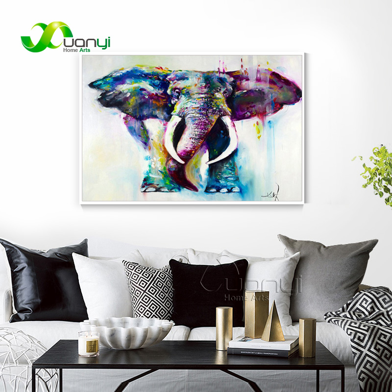 Abstract Watercolor Elephants Picture Oil Paintings Home