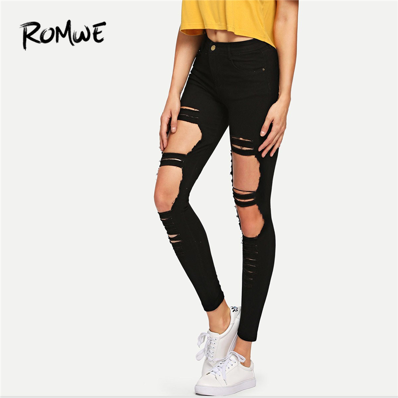 ROMWE Black Ripped Skinny Denim   Jeans   Summer Women Casual Button Fly Mid Waist New Style Trousers Female Fashion Crop Pants