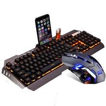 M398 Wired Yellow / Rainbow LED Backlit Ergonomic Usb Gaming Keyboard Mouse Combo illuminated + 3200DPI Optical Gamer Mouse Sets