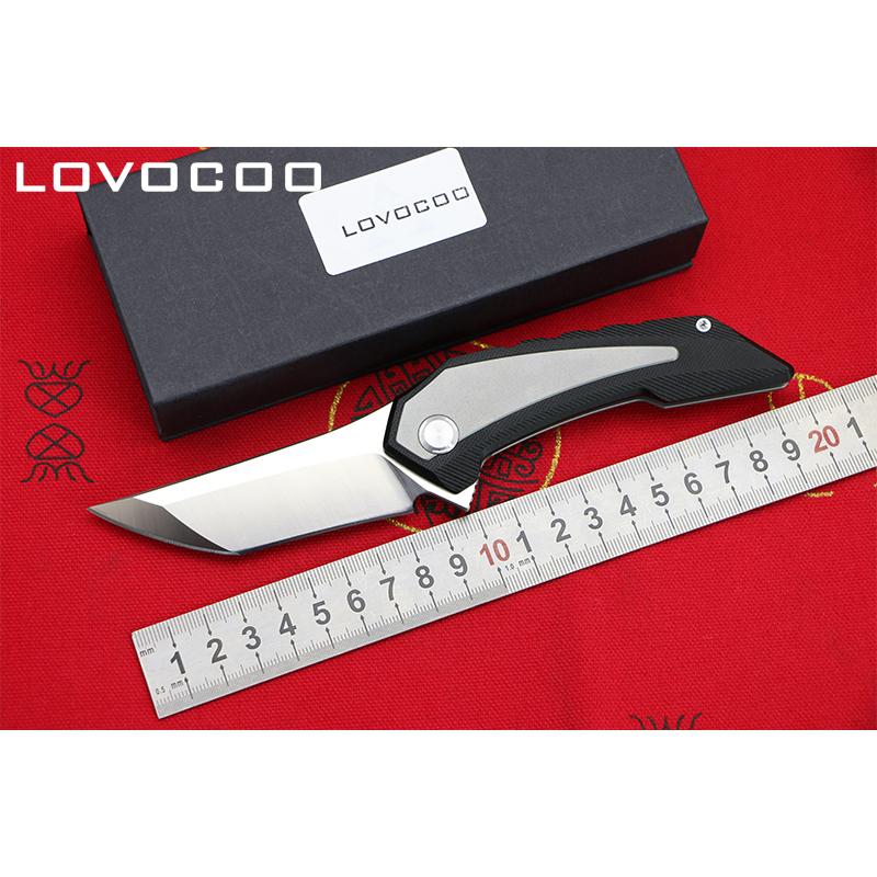 LOCOVOO ST-82 New arrival D2 blade Titanium handle Flipper folding knife Outdoor camping hunting Survival pocket knives EDC tool quality tactical folding knife d2 blade g10 steel handle ball bearing flipper camping survival knife pocket knife tools