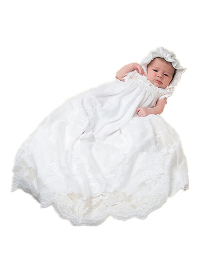 BABY WOW White Baby Girl Christening Gowns Dress Hat first communion dresses girls 1 year birthday dress 90139