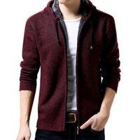 Autumn And Winter Men's Plus Velvet Hoodies Long sleeved Knit Jacket Sweatshirt Outdoor Sports Baseball Sportswear Harajuku