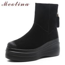 Meotina Winter Snow Boots Women Cow Suede Fringe Flat Platform Warm Plush Zipper Round Toe Shoes Female 34-39