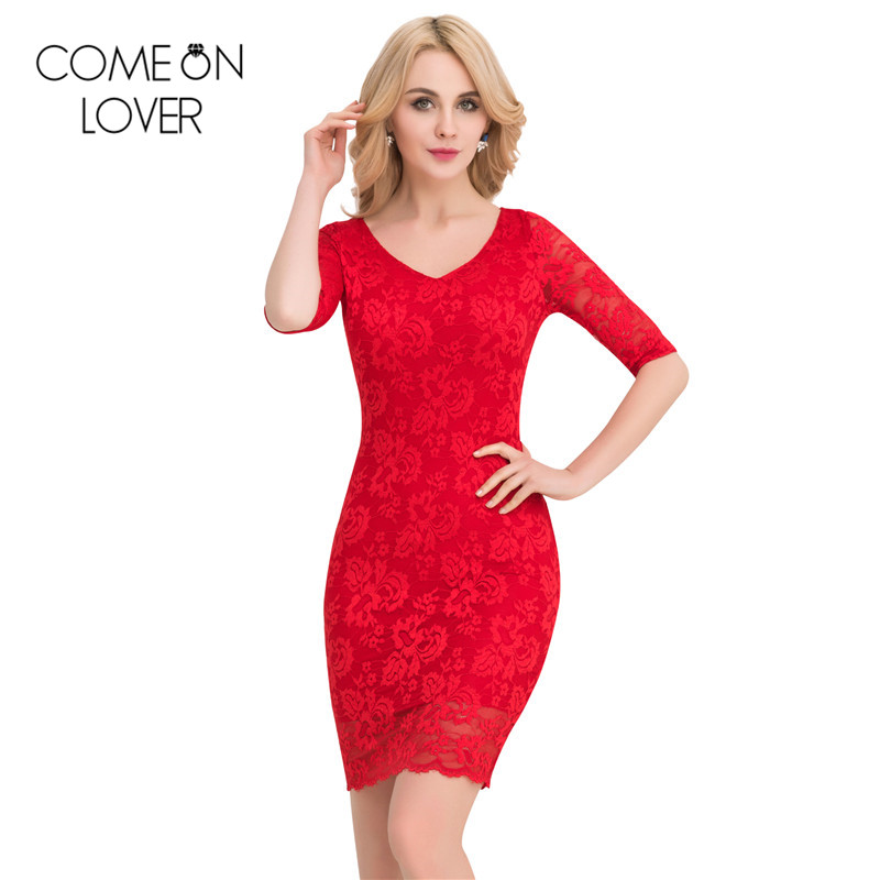 VE1061 Comeonlover Party wear back halter sexy lace dress hot elastic robe femme vestido half sleeve lady backless casual dress