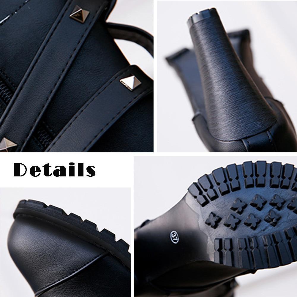 shoes Boots Women Ladies Classics Rivet Belt High Heels Mid-Calf Boots Shoes Martin Motorcycle Zip boots women 2018Oct31 26