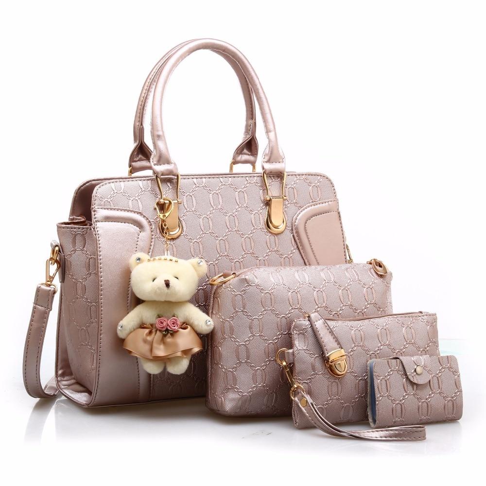 4 PCS/Set Women Bag Composite Bags Women pu Leather Shoulder bag Women Crossbody Messenger Bags Luxury Handbag With Bear Doll