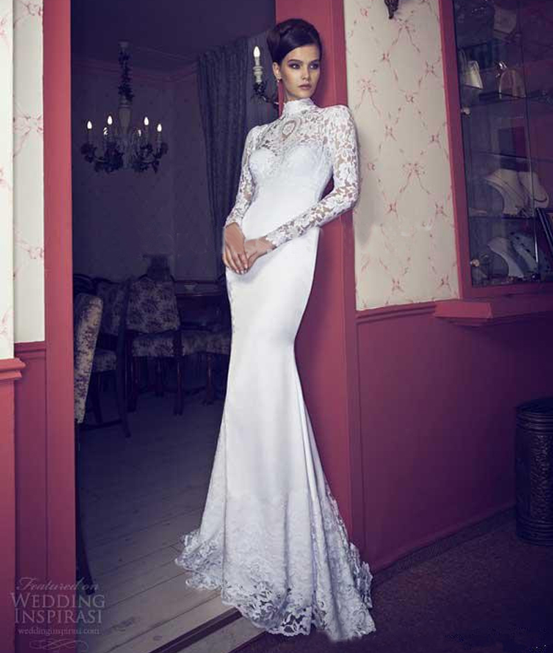 Sexy High Neck Long Sleeve Lace Wedding Dresses 2017 Backless Fitted Mermaid Bridal Gown Custom Made Vestios De Festa In From Weddings