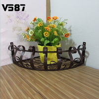 Iron Wall Spider Flower Plant Vase Pot Stand Holder Hooks Style Home Decoration Garden DIY Corner