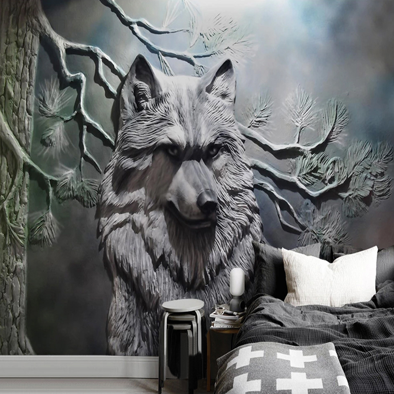 3D Wallpaper European Style Stereo Relief Forest Wolf Photo Wall Murals Living Room Dining Room Creative Art Wall Paper Frescoes