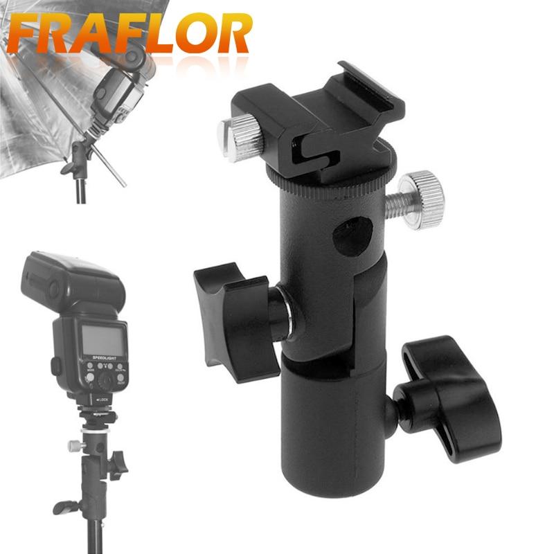 Universal E Type Metal Flash Hot Shoe Speedlite Umbrella Holder Light Stand Bracket With 1/4