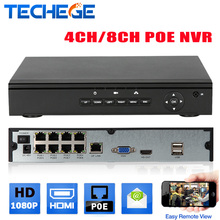 Techege Genuine FULL HD 1080P 4CH/8CH CCTV 48V POE NVR H.264 P2P ONVIF real time Recorder For  Security IP Camera System XMEYE
