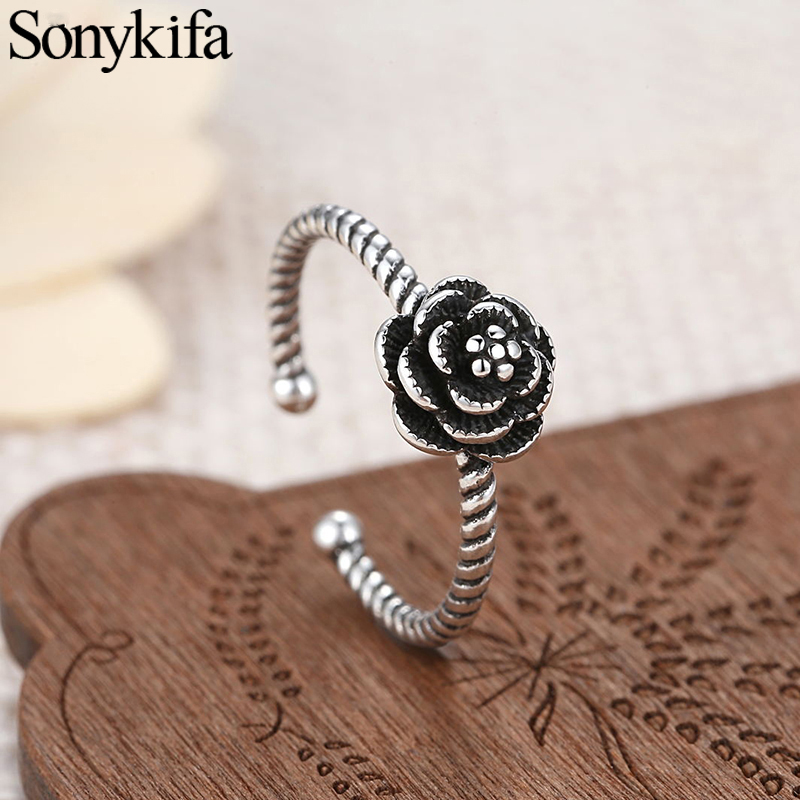 Sonykifa Newest Arrival Dazzling Daisy Genuine Compatible Silver Color Ring Fit Pandora Jewelry Women Lover Wedding Accessories