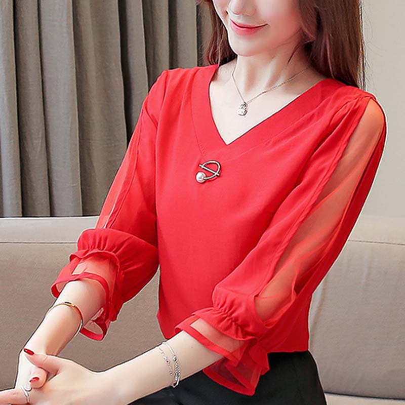 Womens tops and blouses 2019 chiffon blouse ladies tops Beading Solid V-Neck korean fashion clothing red and green shirt 3185 50 3