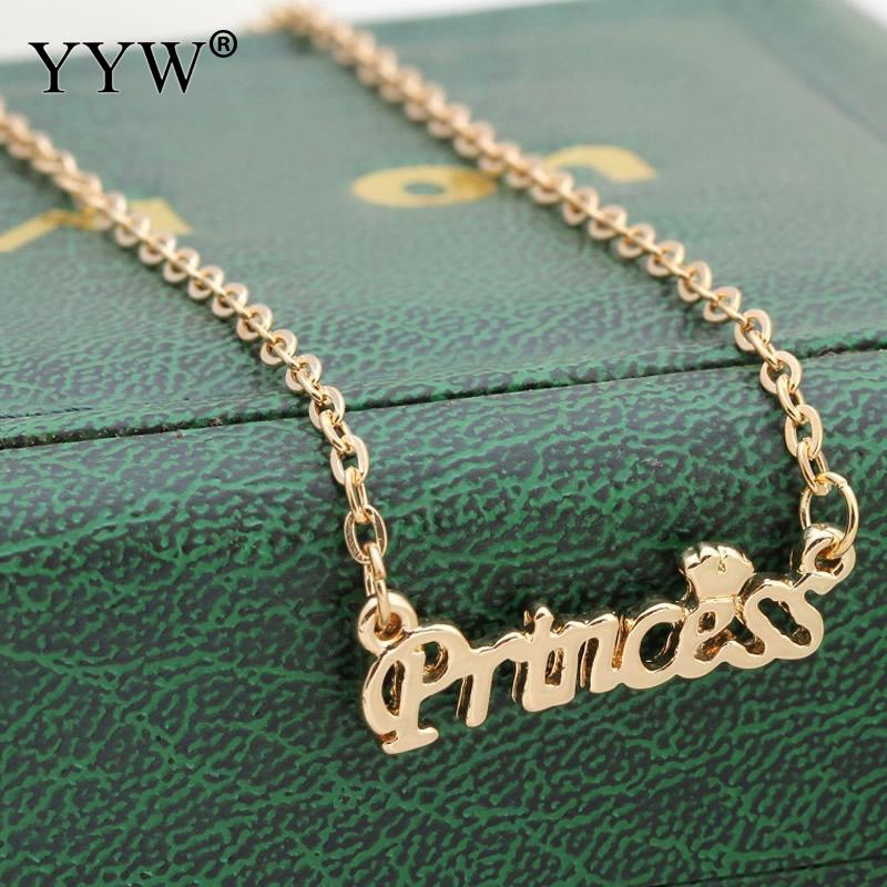 Women Statement Necklace Princess Letter Pendants Nacklaces for Girls Gold Silver Color Zinc Alloy Jewelry Approx 17.7 Inch ...