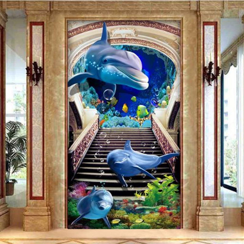 Custom Photo Wallpapers For Walls 3D Creative Modern Murals Animals Dolphin Wall Papers Home Decor Entrance Corridor Painting stylish dolphin pattern 3d wall sticker for home decor