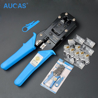 AUCAS Network Cable Pliers Cable Tester 50 Crystal Head Crimping Pliers Stripping Knife Network Cable Network
