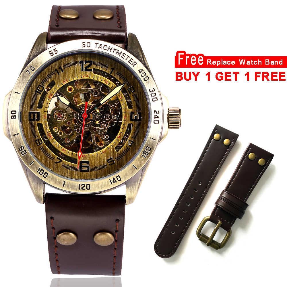 b67deda3d6a8 ... Esqueleto mecánico automático reloj de los hombres de bronce Steampunk  reloj para hombre transparente de cuero ...