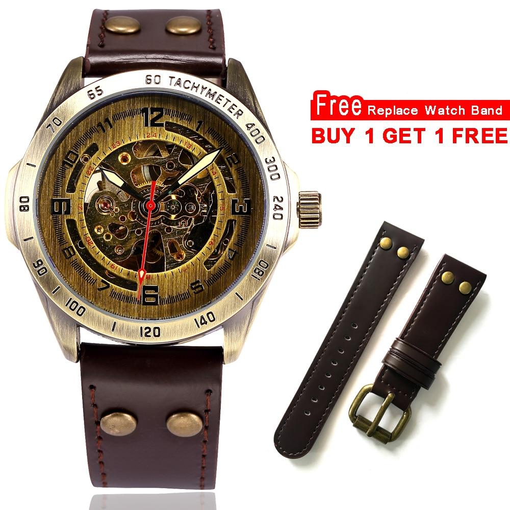 Watches ... Men's Watches ... 32609076570 ... 2 ... Skeleton Mechanical Watch Automatic Watch Men Steampunk Bronze Transparent Mens Automatic Mechanical Wrist Watches Clock for Man ...