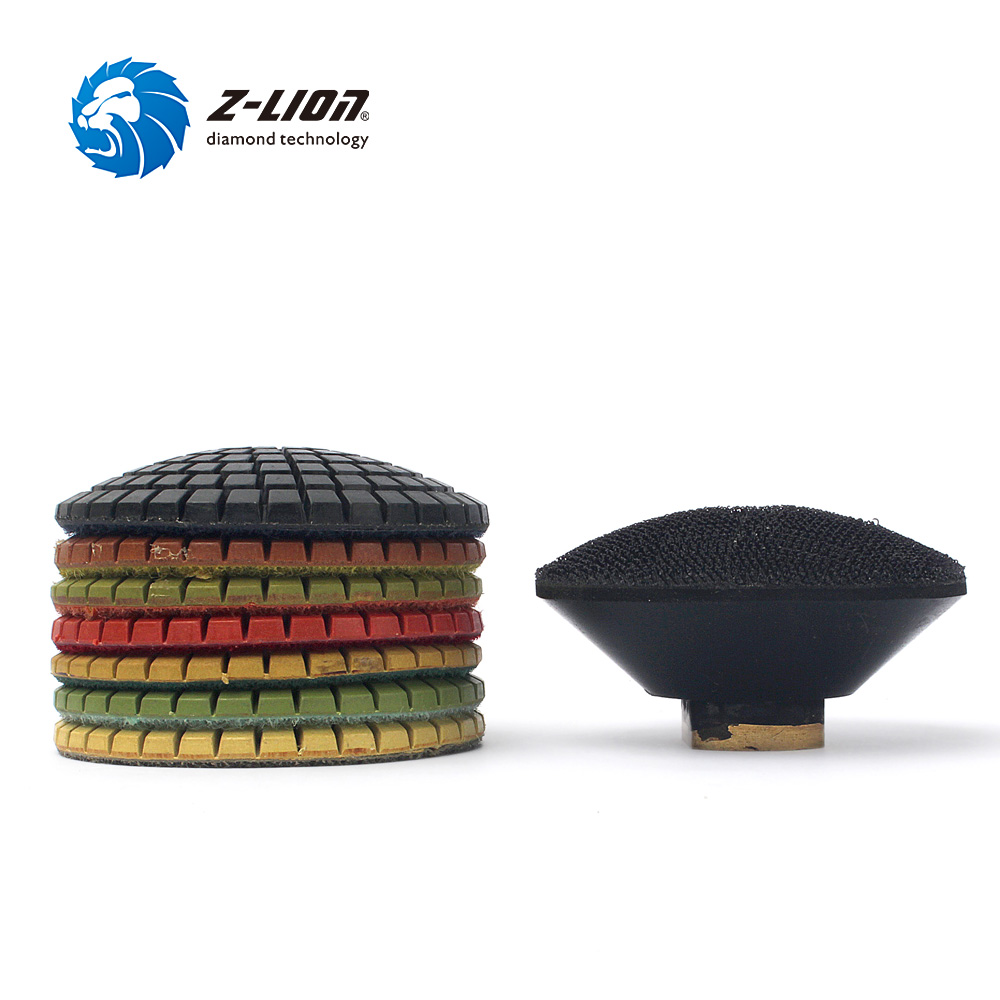 "Z-LION 3"" Diamond Convex Polishing Pad 8pcs Bowl Arc Type Diamond Polishing Pad For Marble Granite With Backer Pad Convex Disc"
