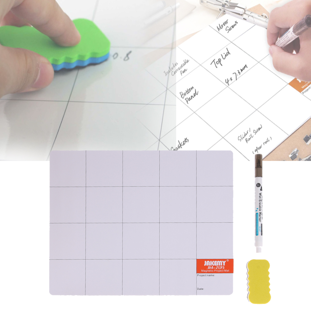 JAKEMY Component Absorb Tool Mat Screw Work Pad with Wipe Oil Pen <font><b>Eraser</b></font> for <font><b>Cell</b></font> <font><b>Phone</b></font> Laptop Tablet Repair Tools 250*245*15MM