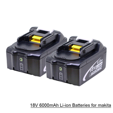 2Pcs 18V 6000mAh BL1860 Lithium ion Replacement Battery with LED Indicator for Makita BL1850 BL1840 BL1830 BL1850 BL1860 3pcs 18v bl1860 li ion 6000mah replacement for makita 18v bl1840 bl1830 bl1850 rechargeable power tool battery with usb adapter