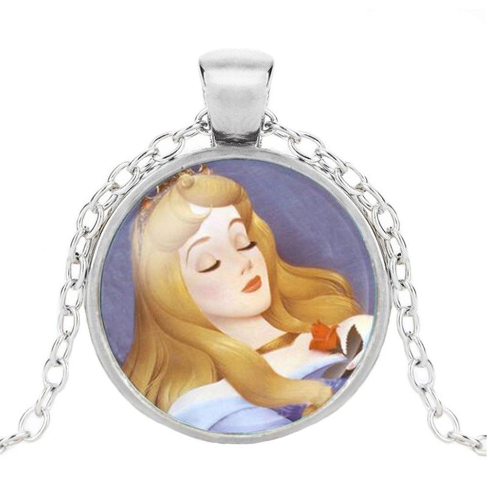 Новая мода популярное женское ожерелье Кристалл ювелирные изделия выпуклая круглая Принцесса Подвеска Ожерелье Девушка - Окраска металла: 18