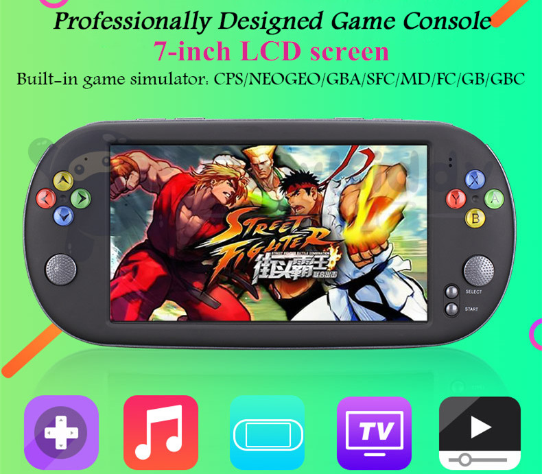 7-inch LCD screen handheld game console player 8G TV output Video playback support downloading games music e-books taking photos цена