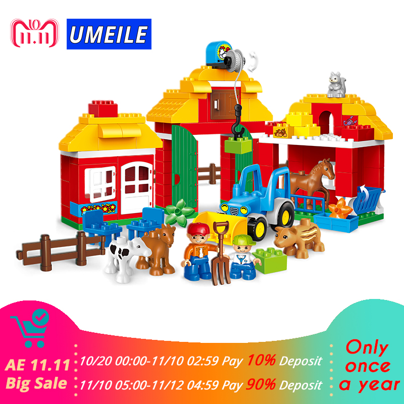 123Pcs Happy Farm Animal Educational Diy Set Building Blocks Zoo Set Kids Toys Brick Compatible With Legoing Duplo 10525 Gift 120pcs farm building blocks diy toys early learning self locking bricks baby educational toys compatible with duplo play house